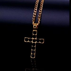 Gold Color Cross Pendant Necklace Religious Iced R